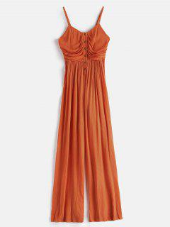 ZAFUL Smocked Half Buttoned Wide Leg Jumpsuit - Mango Orange S