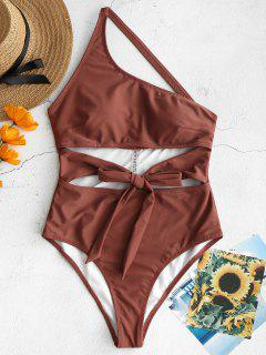 ZAFUL Knot Cutout One Shoulder Swimsuit - Rosy Finch L