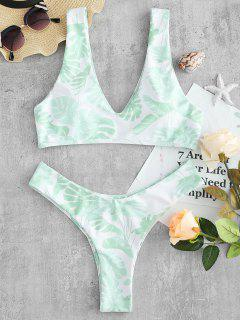 ZAFUL Leaf High Leg Bikini Set - Weiß L