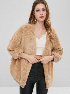 Drop Shoulder Open Front Fluffy Coat - Tan