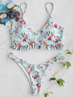 ZAFUL Ruffles Tiny Bikini Floral Set - Multi M
