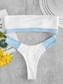 ZAFUL Ribeau-Bikini-Set Mit Geripptem Farbblock - Weiß L