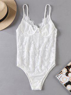Sheer Fishnet Lace Lingerie Teddy Bodysuit - White S