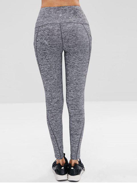 Hoch Taillierte Heather Sport Leggings - Schlachtschiff Grau L Mobile
