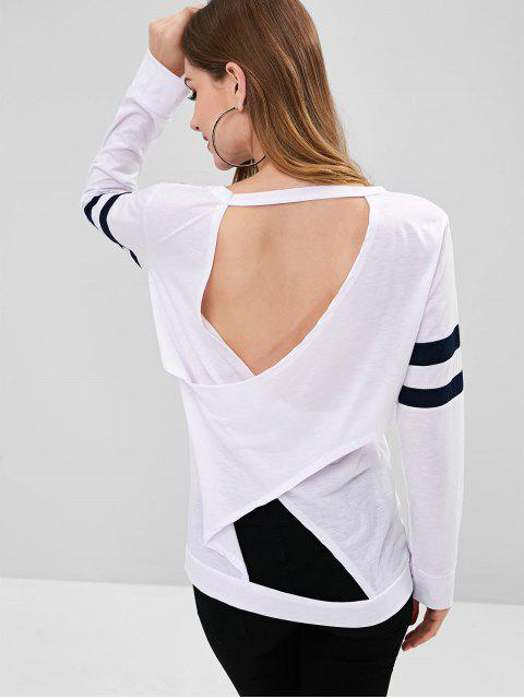 Gestreiftes Rückseitiges T-Shirt - Weiß L Mobile