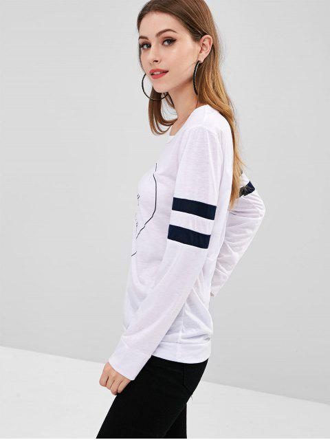 Gestreiftes Rückseitiges T-Shirt - Weiß XL Mobile