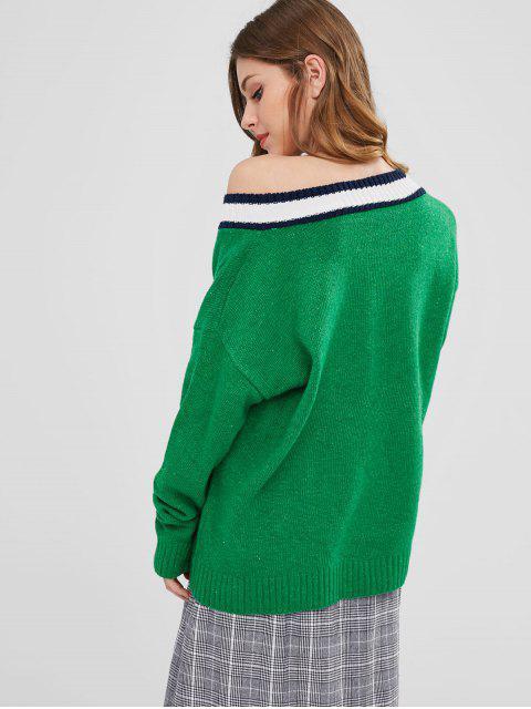 プルオーバーストライプトリムVネックセーター - 深緑 ワンサイズ Mobile