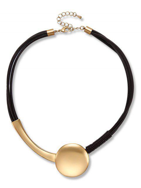 Layer Runde Form Dekoration Halskette - Schwarz  Mobile