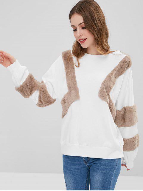 affordable Oversized Textured Sweatshirt - WHITE L Mobile