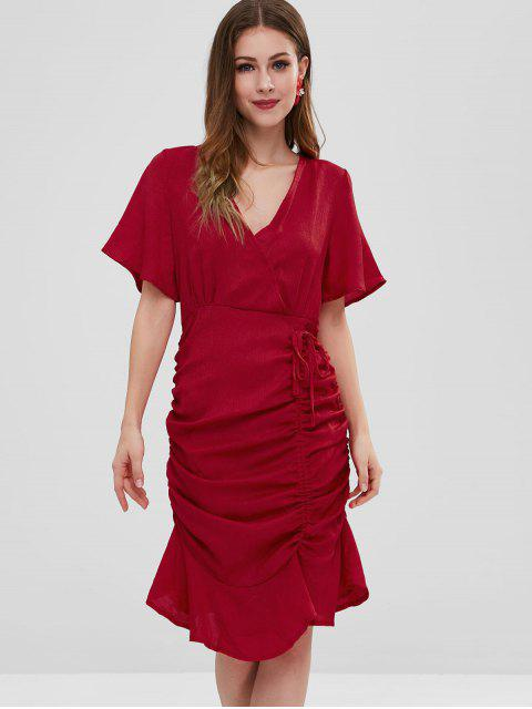 latest Pep Hem Drawstring Ruched Midi Dress - CHESTNUT RED S Mobile
