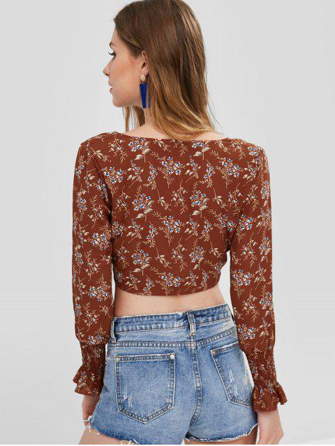 fashion ZAFUL Button Up Floral Knotted Top - LIGHT BROWN L Mobile