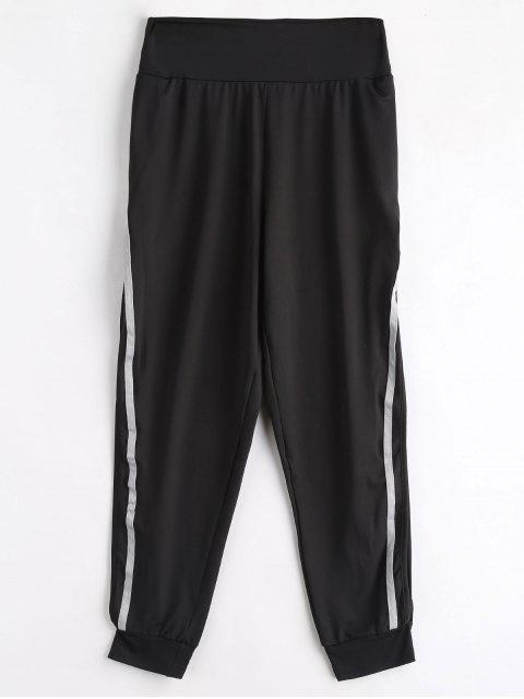 Pantalones rectos a rayas con abertura alta - Negro S Mobile