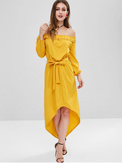 best Off Shoulder Belted High Low Dress - GOLDEN BROWN L Mobile