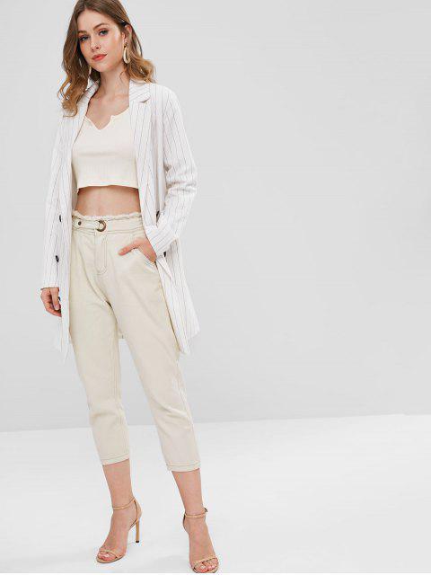 Boyfriend Frayed Trim Jeans de cintura alta - Albaricoque L Mobile