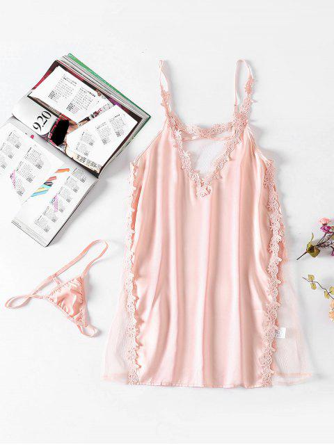 Conjunto de lencería Babydoll con inserción de satén - Chicle Rosa Talla única Mobile