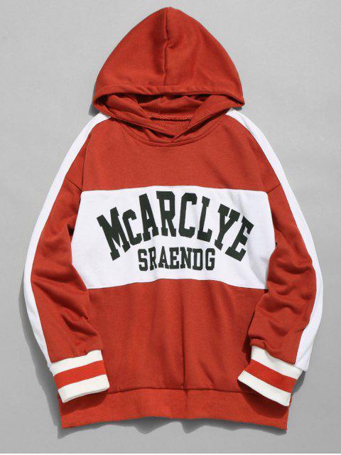 Sudadera con capucha casual de rayas en el pecho - Rojo M Mobile
