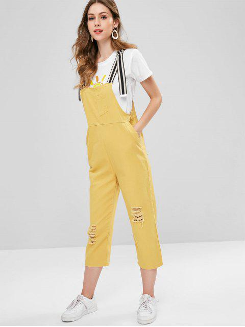 latest Striped Strap Ripped Denim Dungaree Overalls - SUN YELLOW ONE SIZE Mobile