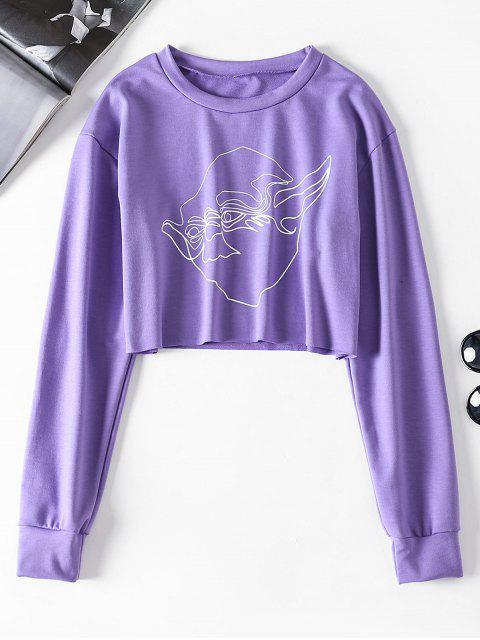 womens ZAFUL Graphic Cropped Sweatshirt - PURPLE L Mobile