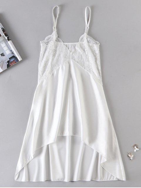 Vestido de lencería Chemise de panel de encaje transparente - Blanco XL Mobile
