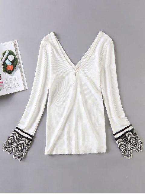 new Long Sleeve Lace Trim Ribbed Knit Top - WHITE S Mobile