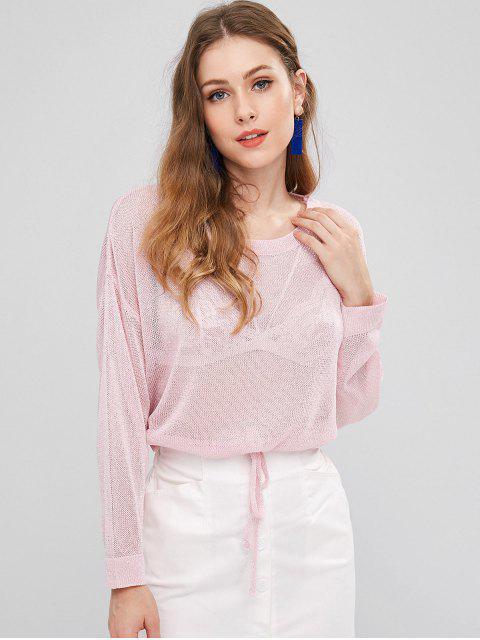Drop Shoulder Drawstring Waist Jumper - Cerdo Rosa Única Talla Mobile
