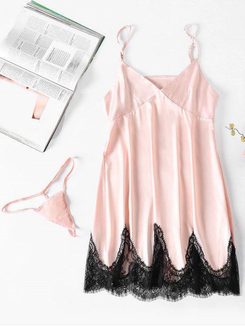 shops Satin Lace Panel Badydoll Panty Set - PINK BUBBLEGUM M Mobile