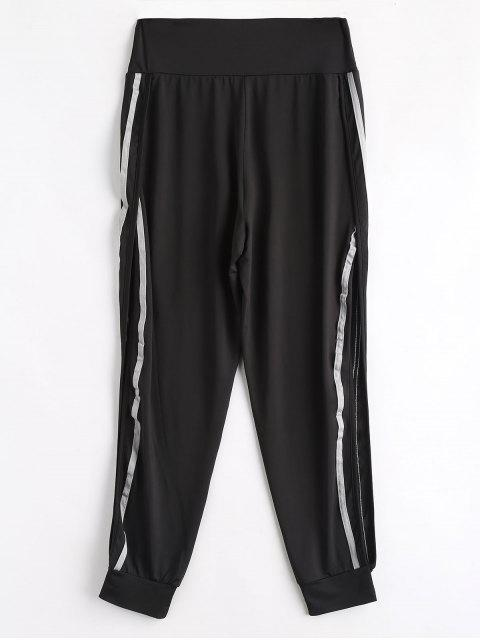new High Slit Striped Patched Pants - BLACK L Mobile