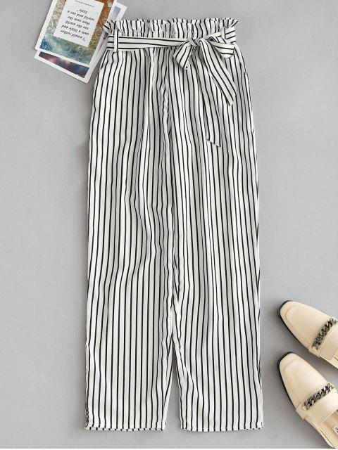 outfit High Waist Belted Striped Pants - WHITE XL Mobile