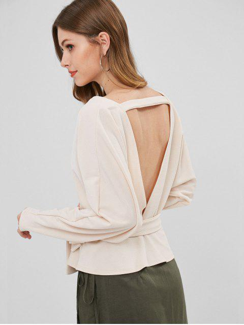 womens Ribbed Open Back Surplice Top - WARM WHITE M Mobile