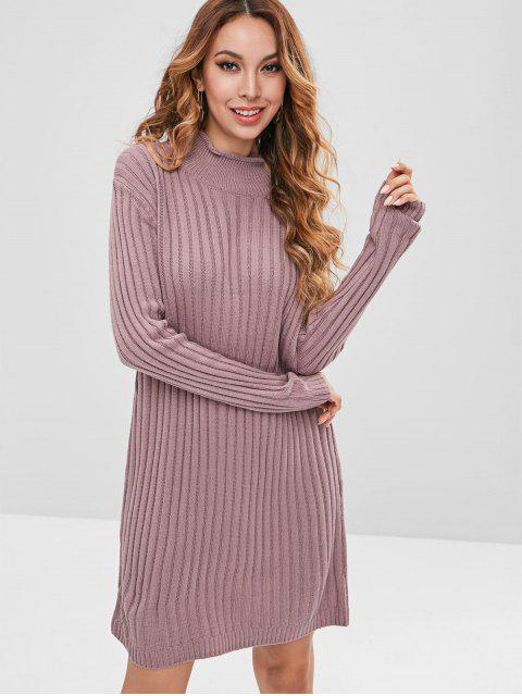 women High Neck Plain Sweater Dress - WISTERIA PURPLE ONE SIZE Mobile
