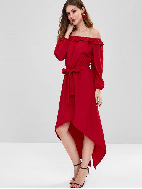 Vestido Ombro Caído com Cinto Alto e Baixa - Vinho Tinto XL Mobile