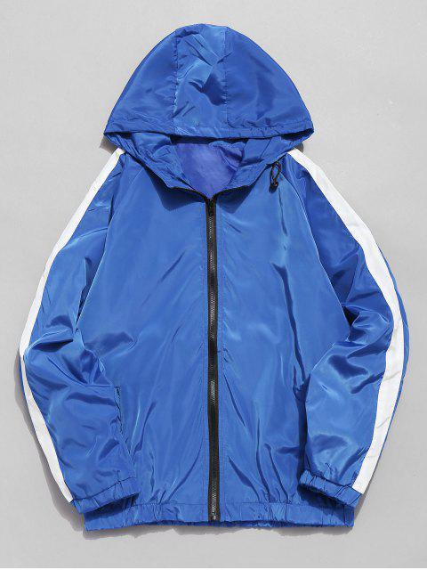 Chaqueta con cremallera impermeable a rayas con contraste - Azul 3XL Mobile