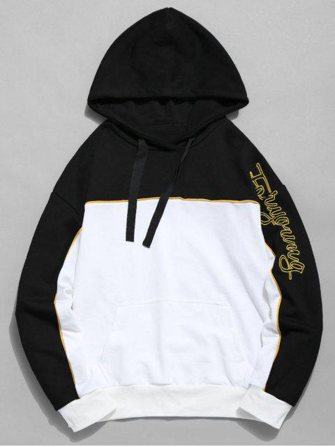 fashion Embroidered Letter Color Block Hoodie - WHITE L Mobile