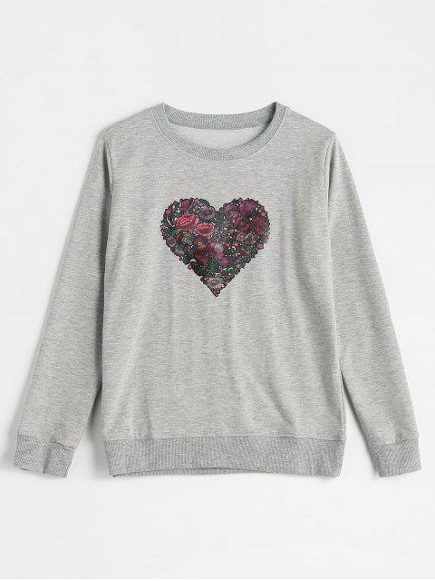 lady Pullover Floral Heart Sweatshirt - GRAY XL Mobile