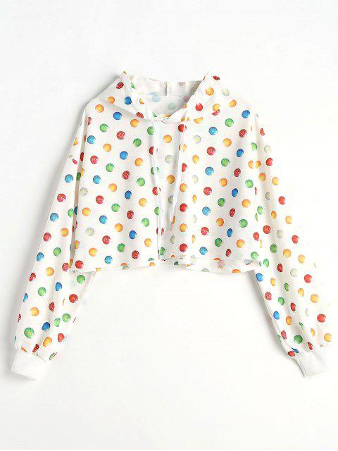 Drop Shoulder Ball Print Crop Hoodie - Blanco L Mobile
