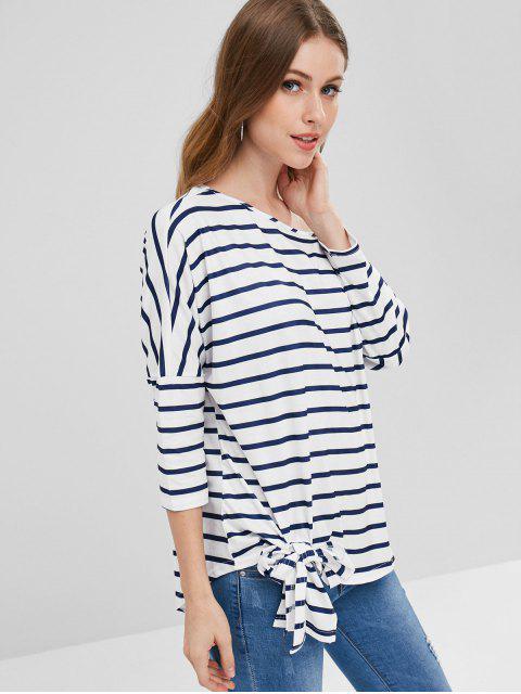 Drop Shoulder Gestreiftes T-Shirt - Weiß L Mobile