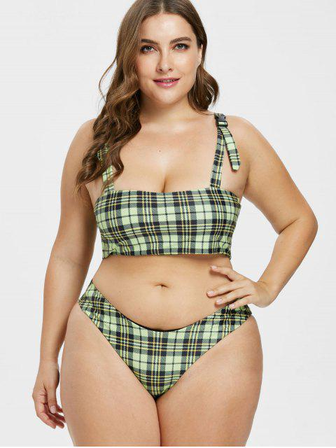 ZAFUL Plus Size Plaid Schnalle High Leg Bikini Set - Leichte Jade 2X Mobile