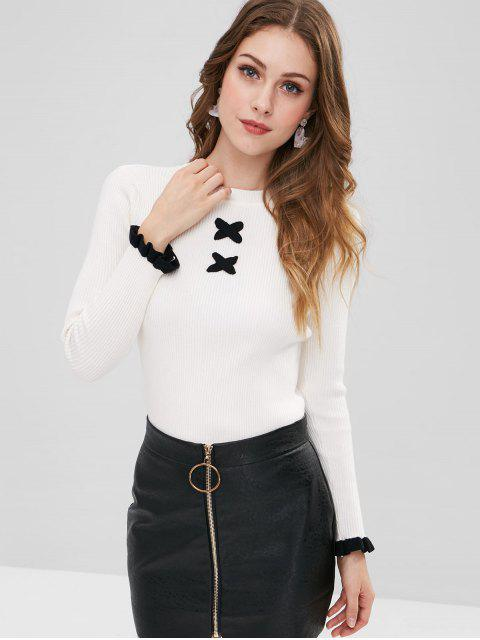 affordable Contrasting Ribbed Criss Cross Sweater - WHITE ONE SIZE Mobile