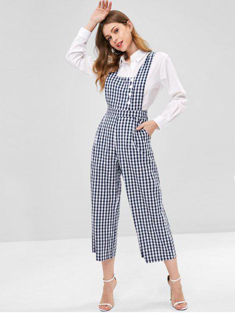 Gingham Wide Leg Overalls - Multi M Mobile