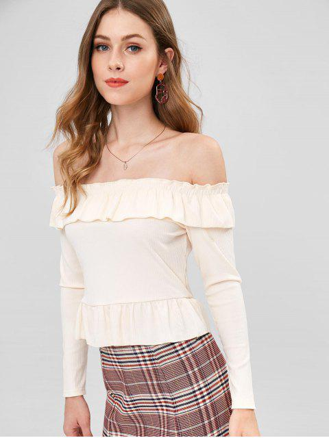 fashion Frilled Ribbed Off The Shoulder Top - CORNSILK L Mobile