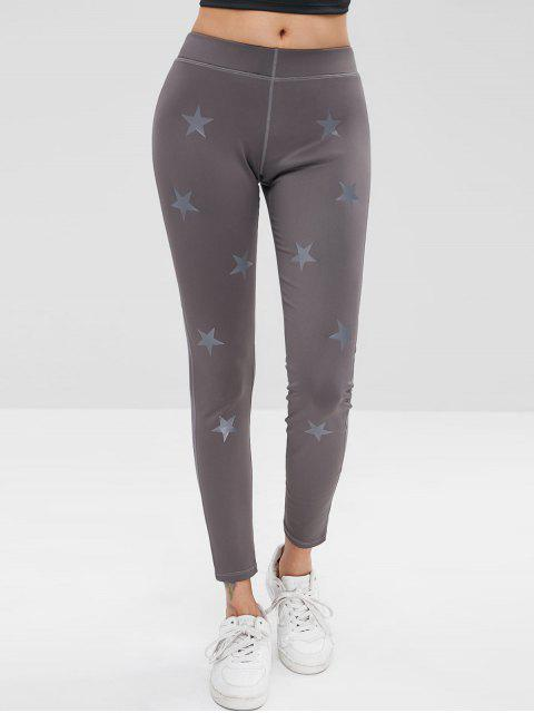 Star Mesh Panel Leggings deportivos - Gris M Mobile