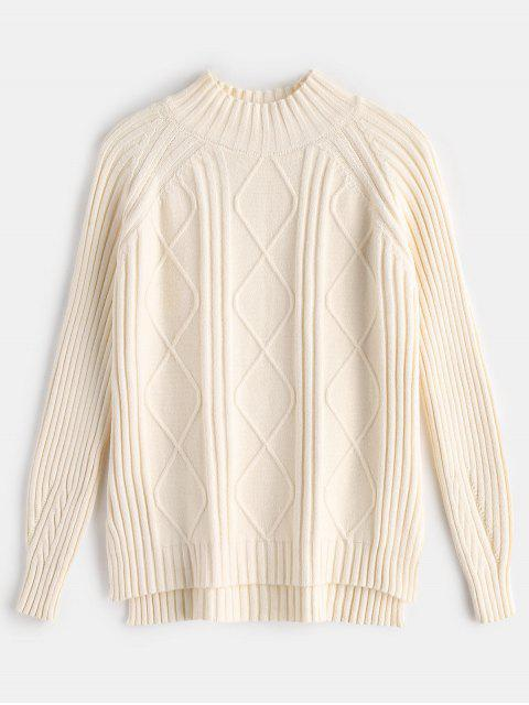 affordable Side Slit Cable Knit Sweater - CORNSILK ONE SIZE Mobile