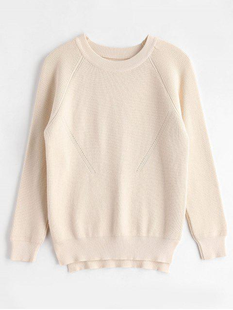 Raglan Sleeves Side Slit Sweater - Cornsilch Eine Größe Mobile