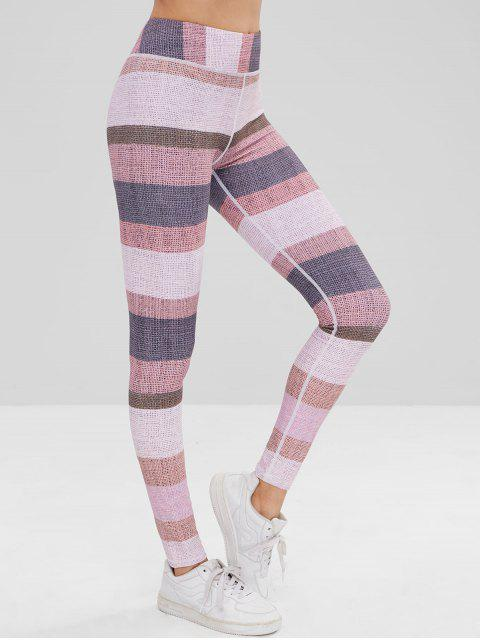 lady High Waisted Color Block Leggings - MULTI L Mobile