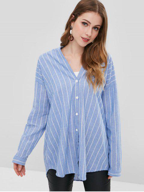 sale Button Up Striped Shirt - LIGHT STEEL BLUE M Mobile