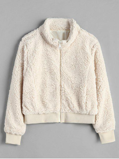womens Zip Up Loose Fluffy Coat - BEIGE L Mobile