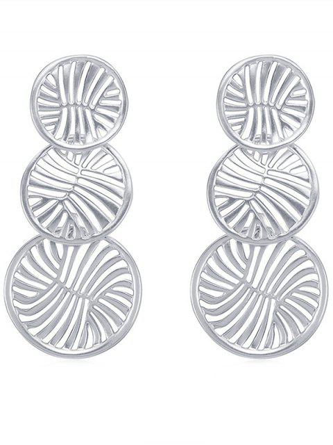 new Hollow Round Design Drop Earrings - SILVER  Mobile