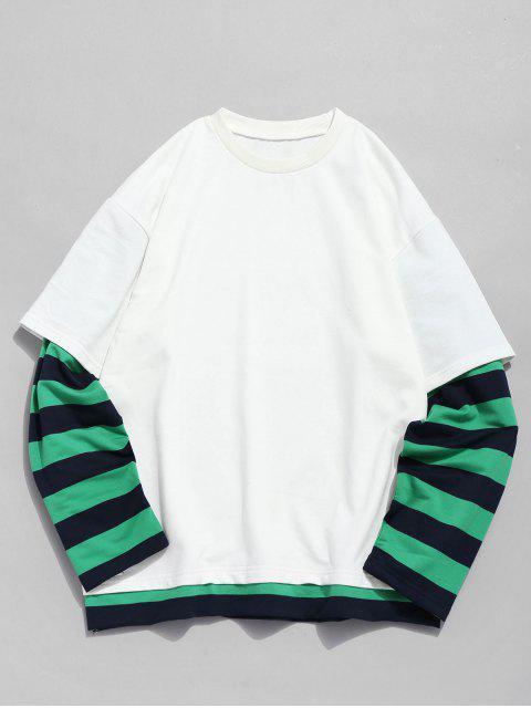Sweat-shirt Rayé Fausse Deux Pièces - Blanc 4XL Mobile