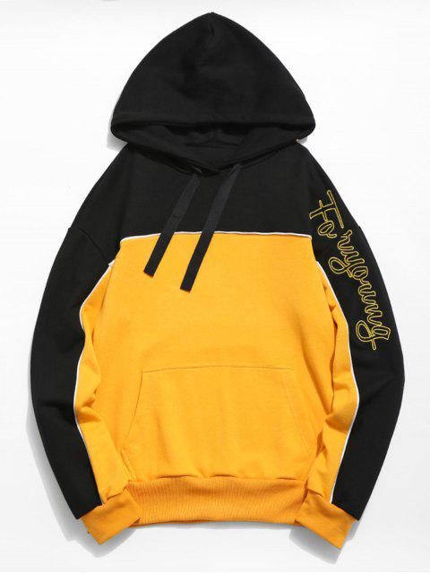 women's Embroidered Letter Color Block Hoodie - BEE YELLOW L Mobile