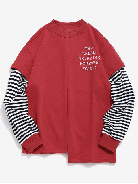 outfit Letter Striped Fake Two Piece Sweatshirt - RED XL Mobile